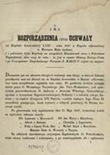 Rozporządzenia czyli uchwały na Kapitule Generalskiéj LXIII - roku 1847 w Rzymie odprawionéj w miesiącu maju wydane, i z polecenia téjże Kapituły we wszystkich klasztorach wraz z dekretami papiezkiemi, dwa razy do roku - to jest w czasie oktawy Bożego Ciała i po uroczystosci Niepokalanego Poczęcia N. Maryi P. czytać się mające / J. M. J.