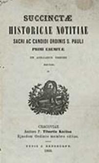 Succinctae historicae notitiae sacri ac candidi Ordinis s. Pauli Primi Eremitae / Tiburtio Knézsa