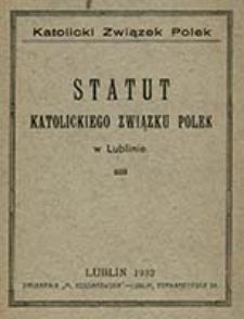 Statut Katolickiego Związku Polek w Lublinie / Katolicki Związek Polek