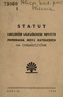 Statut Lubelskiego Wojewódzkiego Popierania Misyj Katolickich na Chełmszczyźnie