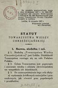Statut Towarzystwa Wiedzy Chrześcijańskiej