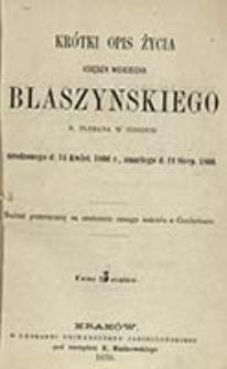 Krótki opis życia księdza Wojciecha Blaszyńskiego : b. plebana w Sidzinie urodzonego d. 14 kwiet. 1806 r., zmarłego d. 11 sierp. 1866