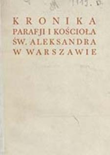 Kronika parafji i kościoła św. Aleksandra w Warszawie