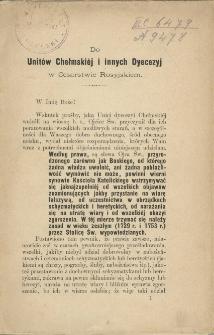 Do unitów chełmskiéj i innych Dyecezyj w Cesarstwie Rosyjskiem.