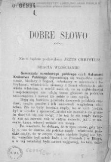 """Dobre słowo / [Czytelnik """"Polaka""""]."""