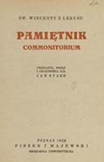 Pamiętnik = Commonitorium / Wincenty z Lerynu ; przeł., wstęp i objaśnienia dał Jan Stahr