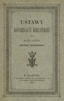 Ustawy Kongregacyi Maryańskiej dla kapłanów dyecezyi krakowskiej