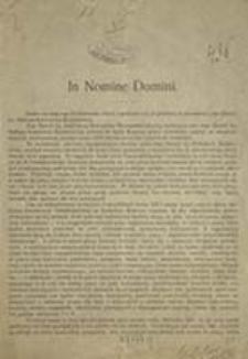 [Ustawy organiazacji katolickich opracowane przez Komisją Pracy Społecznej. Inc.:] In Nomine Domini. Działo się dnia 9-ego października 1905 [...]