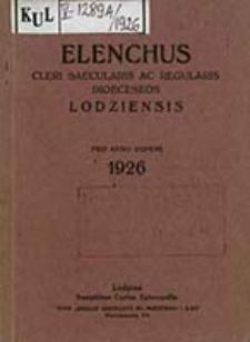 Elenchus Cleri Saecularis ac Regularis Dioecesis Lodziensis pro Anno Domini ...