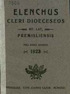 Elenchus Cleri Dioeceseos Rit[us] Lat[ini] Premisliensis