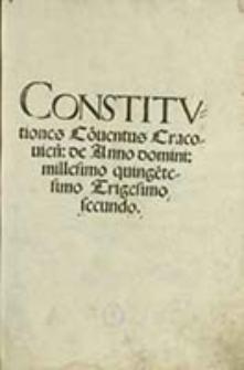 Constitutiones Conuentus Cracouien[sis]
