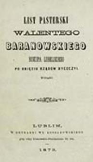 List pasterski Walentego Baranowskiego biskupa lubelskiego po objęciu rządów dyecezyi wydany