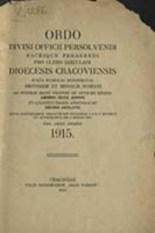 Ordo Divini Officii Recitandi Sacrique Celebrandi ad Usum Venerabilis Cleri Saecularis Dioecesis Cracoviensis pro Anno Domini ...
