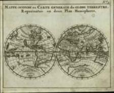 Mappe-Monde ou Carte generale du Globe Terrestre, Représentée en deux Plan-Hemispheres