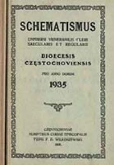 Schematismus Universi Venerabilis Cleri Saecularis et Regularis Dioecesis Częstochoviensis pro Anno Domini ...