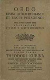 Ordo Divini Officii Recitandi et Sacri Peragendi pro Anno Domini ... ad Usum Cleri Dioecesis Częstochoviensis