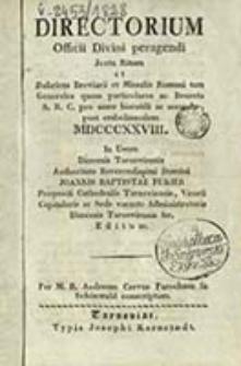 Directorium Offici Divini Peragendi Juxta Rubricas Breviarii et Missalis Romani tam Generales quam Particulares, ac Decreta S. R. C. pro Anno ... / in usum Dioeceseos Tynecensis Authoritate