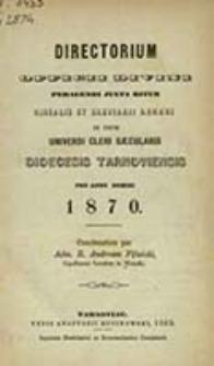 Directorium Officii Divini Peragendi Juxta Ritum Breviarii et Missalis Romani nec non Juxta Decreta Sacrae Rituum Congregationis pro Anno ... / in usum Dioecesis Tarnoviensis