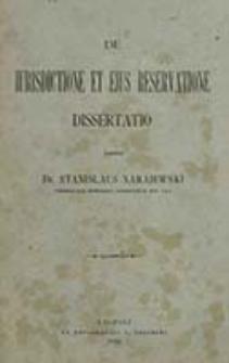De iurisdictione et eius reservatione / scripsit Stanislaus Narajewski