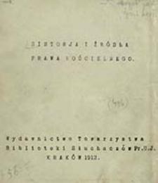 Historja i źródła prawa kościelnego / [Brzeziński Józef]