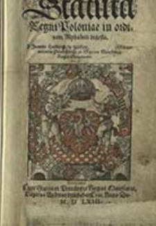 Statuta Regni Poloniae, in ordinem Alphabeti digesta / A Joanne Herborto [...]