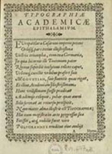 Typographiae academicae epithalamium