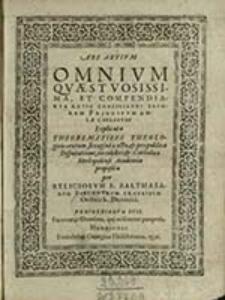 Ars artivm Omnivm Qvaestvosissima, et Compendiaria Ratio Conciliandi Favorem Principvm Avlae Coelestis / F. Balthasarum Buechnerum