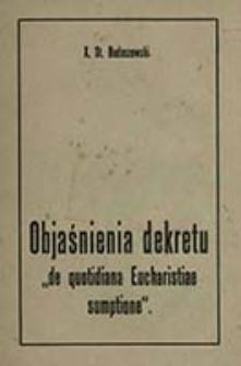 """Objaśnienia dekretu """"de quotidiana Eucharistiae sumptione"""" / St. Budaszewski"""