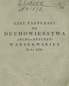 List pasterski do duchowieństwa Archi-dyecezyi Warszawskiey roku 1824 / [Woyciech Leszczyc Skarszewski]