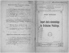 Import zboża niemieckiego do Królestwa Polskiego / Jerzy Gościcki.