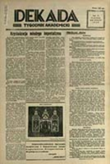Dekada : tygodnik akademicki / [Wyd. i red. Wiktor Stanisławski ; red. odpow. Zbigniew Jasiński]