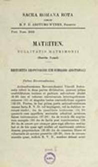 Matriten. Nullitatis Matrimonii (Garcia-Ygual) : restrictus responsionis cum summario additionali / Sacra Romana Rota coram Arcturo Wynen
