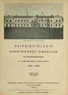 Dziesięciolecie Państwowego Gimnazjum im. Bartosza Głowackiego w Tomaszowie Lubelskim (1918-1928)