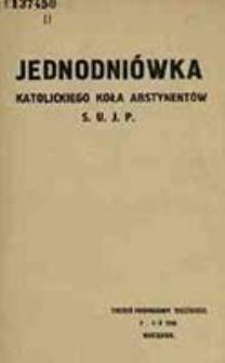 Jednodniówka Katolickiego Koła Abstynentów S. U. J. P.