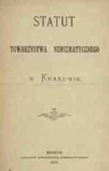 Statut Towarzystwa Numizmatycznego w Krakowie