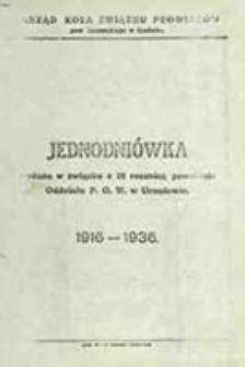Jednodniówka wydana w związku z 20 rocznicą powstania Oddziału P. O. W. w Urzędowie : 1916-1936
