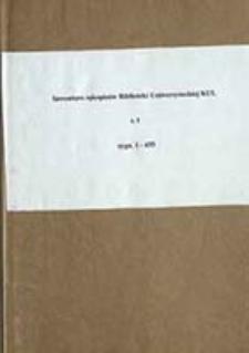 Inwentarz rękopisów Biblioteki Uniwersyteckiej KUL T. 1