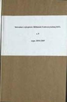 Inwentarz rękopisów Biblioteki Uniwersyteckiej KUL T. 9
