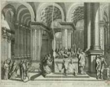 [Ofiarowanie w świątyni starzec Symeon trzyma Dzieciatko na rękach] / [Dokument ikonograficzny] : J. W. Baur inv. ; Melchior Küsell fe.