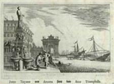 Porto Trayano von Ancona samt dem Arco Triumphalle [Dokument ikonograficzny] / J. W. Baur inv. ; Melchior Küsell f.