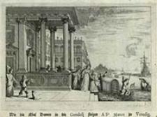 Wie die Edel Damen in die Gondolj steigen A S-t. Marco zu Venedig [Dokument ikonograficzny] / J. W. Baur inv. ; Melchior Küsell f.