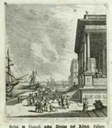 Arriva zu Neapolj ander Abseiten des Königl. Pallazz [Dokument ikonograficzny] / J. W. Baur inv. ; Melchior Küsell fe.