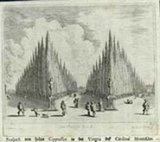 Prospect von hohen Cippressen in der Vingna des Cardinal MontAlto [Dokument ikonograficzny] / J. W. Baur inv. ; Melchior Küsell f.