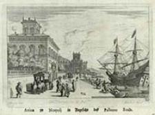 Arriva zu Neapolj in Angesicht des Pallazzo Reale [Dokument ikonograficzny] / J. W. Baur inv. ; Melchior Küsell fecit