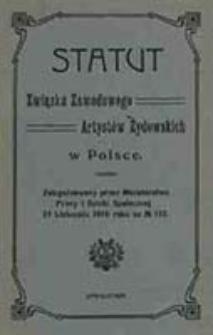 Statut Związku Zawodowego Artystów Żydowskich w Polsce