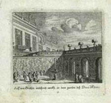 Hoff von Grotten undSpris merth in dem garten des Duca d'Altems [Dokument ikonograficzny] / [J. W. Baur inv. ; Melchior Küsell fecit]