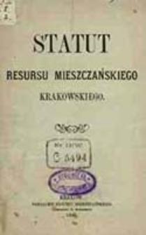 Statut Resursu Mieszczańskiego Krakowskiego