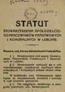 Statut Stowarzyszenia Spółdzielczego Pracowników Państwowych i Komunalnych w Lublinie