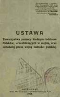 Ustawa Towarzystwa pomocy biednym rodzinom Polaków, uczestniczących w wojnie, oraz zubożałej przez wojnę ludności polskiej