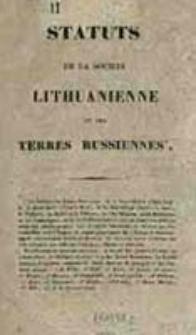 Statuts de la Societe Lithuanienne et des Terres Russiennes